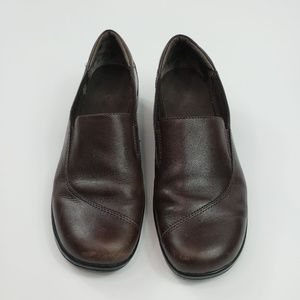 Clarks Brown Leather Slip On Wedge Loafers Womens